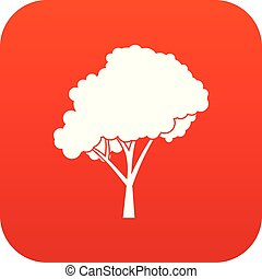 Tree with a rounded crown icon digital red