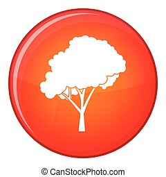 Tree with a rounded crown icon, flat style