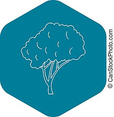 Tree with a rounded crown icon, outline style