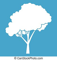 Tree with a rounded crown icon white