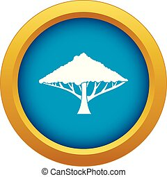 Tree with a spreading crown icon blue vector isolated