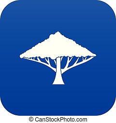 Tree with a spreading crown icon digital blue