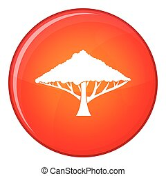 Tree with a spreading crown icon, flat style