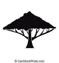 Tree with a spreading crown icon, simple style