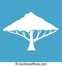 Tree with a spreading crown icon white