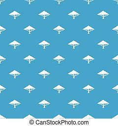 Tree with a spreading crown pattern seamless blue