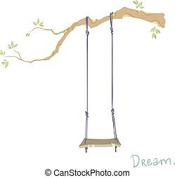 tree with a swing. vector illustration