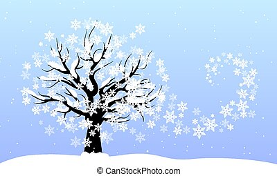 tree with a swirl of snowflakes