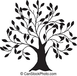Decorative image of a tree with a thick trunk. Vector illustration.