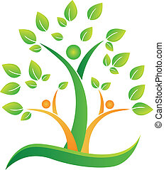 Tree with abstract people logo - Tree hearts and hands...