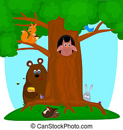 tree with animals