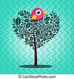 Tree with Bird Vector on Retro Background