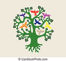 Tree with Birds Illustration