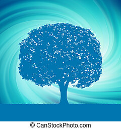 Tree with blue twirl for your design. EPS 8