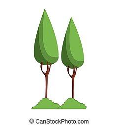 tree with bush cartoon