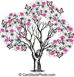 tree with butterflies and flowers black and pink