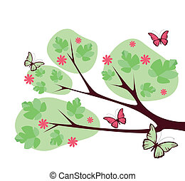 tree with butterflies and flowers