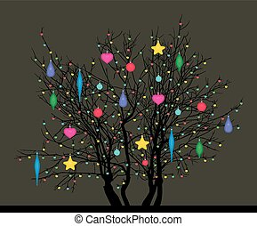 tree with Christmas toys