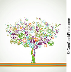 Tree with circle colorful leaves. Vector background