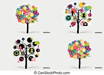 Tree with cloud of application. Vector illustration.