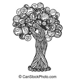 Tree with coins engraving vector illustration. Scratch board...