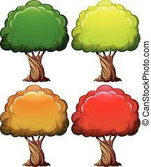 Tree with color leaves in four seasons