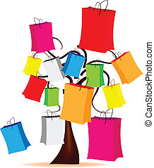 tree with colored envelopes