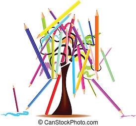 tree with colored pencils