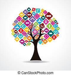 tree with colorful arrow icon