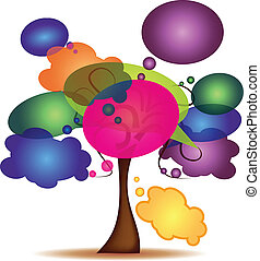 Tree with colorful cartoon