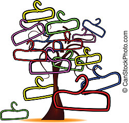 tree with colorful hangers