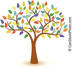 Tree with colorful leaves vector concept icon