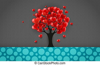 Tree with crown made of red heart