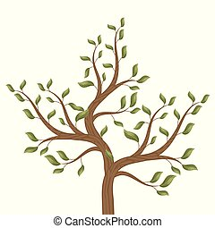 Tree with curved brown branches with green leaves on a white background isolated vector illustration.