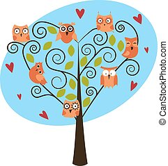 tree with cute owls