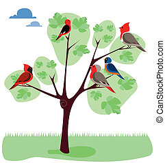 tree with diferents birds