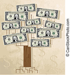 Tree with dollars, vintage vector b