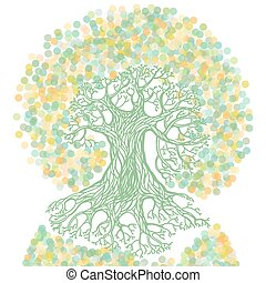 Tree with earth illustration in ecology concept theme.