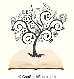 tree with education icons on top of a book