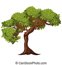 Tree with Exuberant Green Foliage and Trunk Vector Illustration. Deciduous Wood with Lush Vegetation Concept