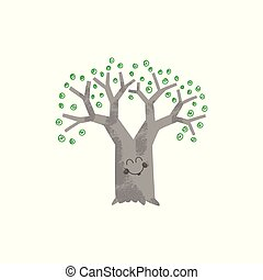 Tree with face vector illustration