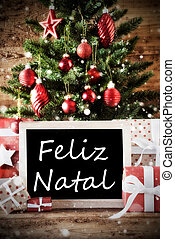 Tree With Feliz Natal Means Merry Christmas