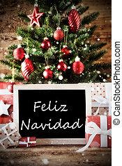Tree With Feliz Navidad Means Merry Christmas