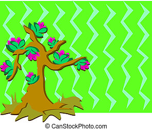 Tree with Flowers and Background