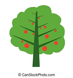 tree with fruit color vector