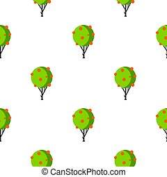 Tree with fruit pattern flat