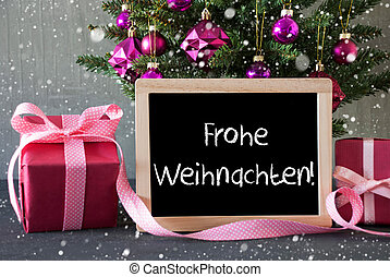 Tree With Gifts, Snowflakes, Frohe Weihnachten Means Merry Christmas