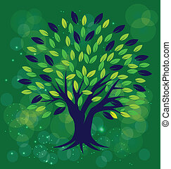 Tree with green background