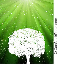 Tree with green burst for your design. EPS 8
