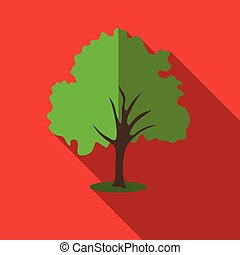 Tree with green crown icon, flat style